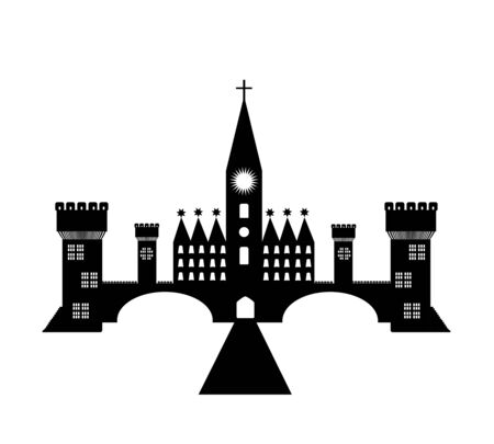 Silhouette of a medieval castle. Vector illustration