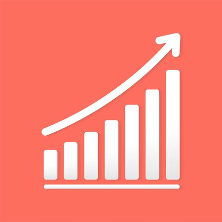 Success business symbol.Growth vector diagram with arrow going up. White vector icon isolated on living coral background. Editable file.Bar Chart Vector Icon.Vector illustration