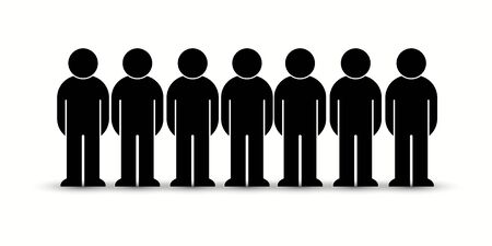 Pack of flat style people, family, couple, crowd icons isolated on white. Black infographics teamwork, leadership, personality, revolution, election, turn, administration, management concept. Vector Banque d'images - 129210625