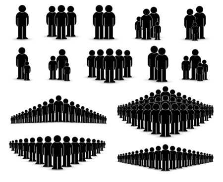 Pack of flat style people, family, couple, crowd icons isolated on white. Black infographics teamwork, leadership, personality, revolution, election, turn, administration, management concept. Vector Banque d'images - 128974821