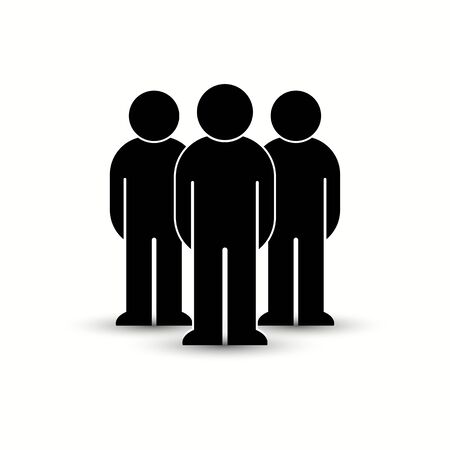 Pack of flat style people, family, couple, crowd icons isolated on white. Black infographics teamwork, leadership, personality, revolution, election, turn, administration, management concept. Vector Banque d'images - 129210615
