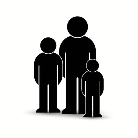 Pack of flat style people, family, couple, crowd icons isolated on white. Black infographics teamwork, leadership, personality, revolution, election, turn, administration, management concept. Vector Banque d'images - 129210640