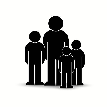 Pack of flat style people, family, couple, crowd icons isolated on white. Black infographics teamwork, leadership, personality, revolution, election, turn, administration, management concept. Vector Banque d'images - 129210644