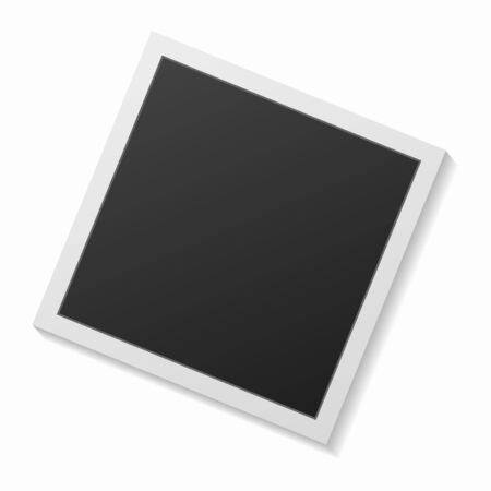 Black and white photo frame with shadows isolated on white background. Vector illustration - Vector Çizim