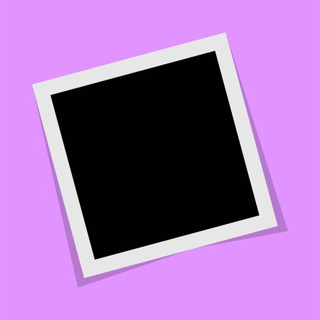Black and white photo frame with shadows isolated on white background. Vector illustration - Vector Illusztráció