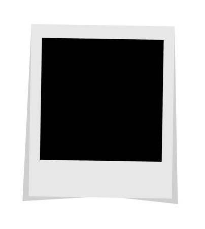 Black and white photo frame with shadows isolated on white background. Vector illustration - Vector