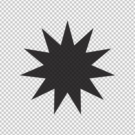 Black simple flat style light star flares  isolated on transparent background. Vector illustration Illusztráció
