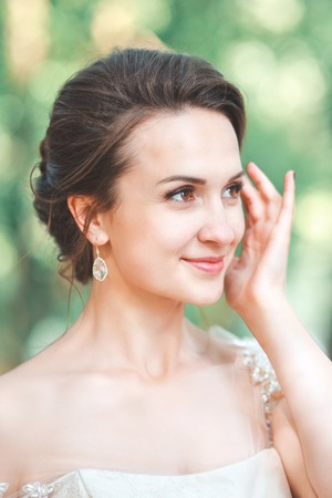 Closeup Portrait Of Young Gorgeous Bride Outdoor Wedding Makeup Stock Photo Picture And Royalty Free Image 80106100