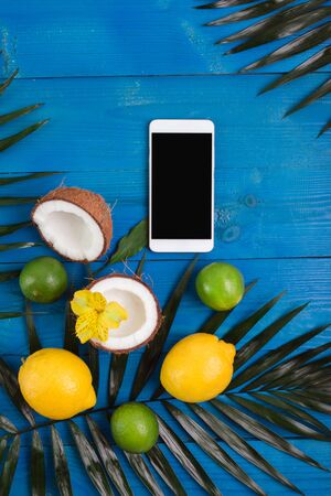 Group of exotic tropical fruits and palm leaves and smartphone on blue wooden background. Reklamní fotografie