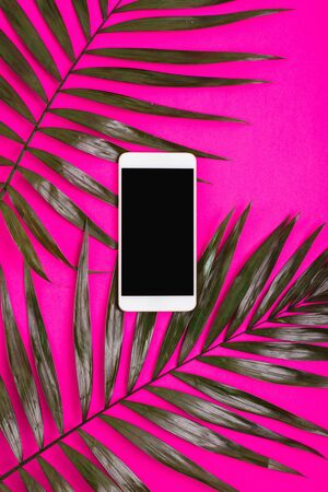 smart phone on pink background of palm leaves .