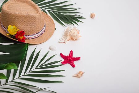 Hat, tropical palm leaves, flowers and sea shells on white background.