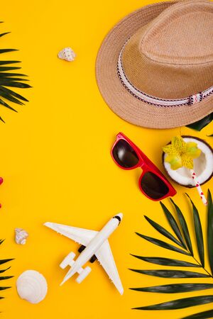 Hat, tropical palm leaves, sunglasses, sea shells and airplane on yellow background.