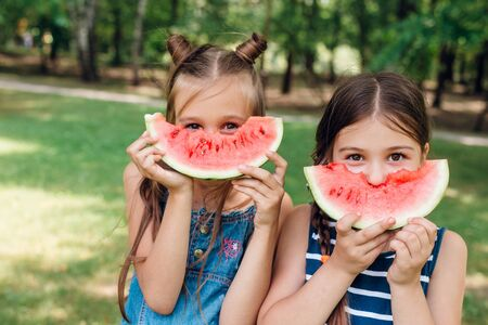 Two cute little girls eating watermelon and having fun in park in summertime Reklamní fotografie