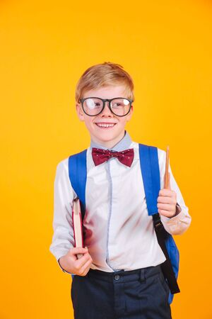 Happy cute clever boy in black glasses with blue school bag and book on yellow bakground. 免版税图像