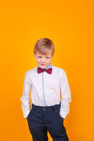 Little handsome boy smiling with white shirt and red butterfly tie