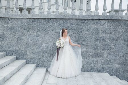 The beautiful woman posing in a wedding dress outdoor 免版税图像