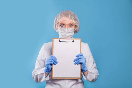 Female doctor wearing a medical mask. Coronavirus COVID-19 prevention concept. Stockfoto