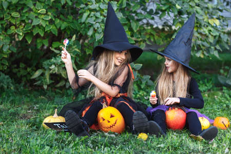 Two funny little sisters in witch costumes eating Halloween candy
