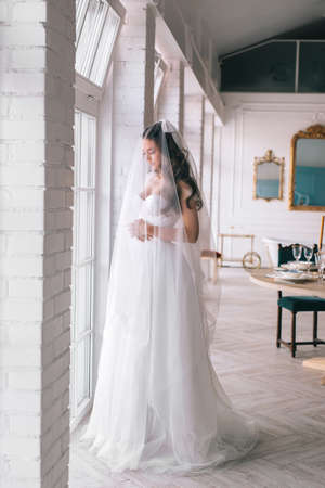 Sensual portrait of beautiful bride under veil in studio
