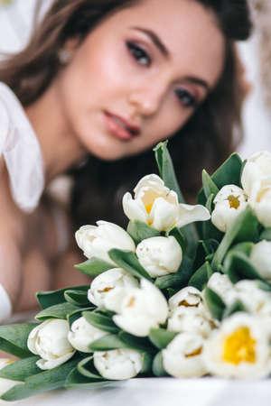 Wedding bouquet of white tulips. Wedding day Standard-Bild