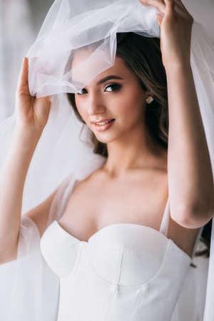 Studio shot of young beautiful bride. Wedding