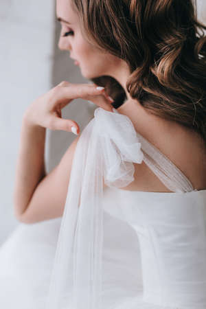 Close-up of beautiful stylish bride with an elegant hairstyle view from the back