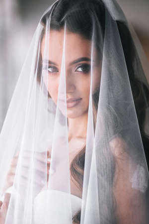 Beautiful bride portrait with veil over her face.Closeup portrait of young gorgeous bride. Wedding. Фото со стока