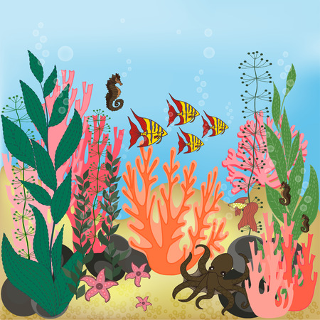 underwater fishes: Underwater landscape with water plants and swimming fishes.