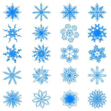 copo de nieve: Colección de copos de nieve, vector de los copos de nieve azules sobre un fondo blanco. 10 EPS