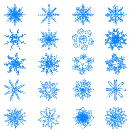 schneeflocke: Collection of vector snowflakes, blue snowflakes on a white background. EPS 10 Illustration
