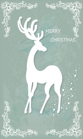 reindeer silhouette: Beautiful Christmas card with reindeer. Vector, EPS10.