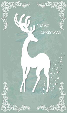 Beautiful Christmas card with reindeer. Vector, EPS10.