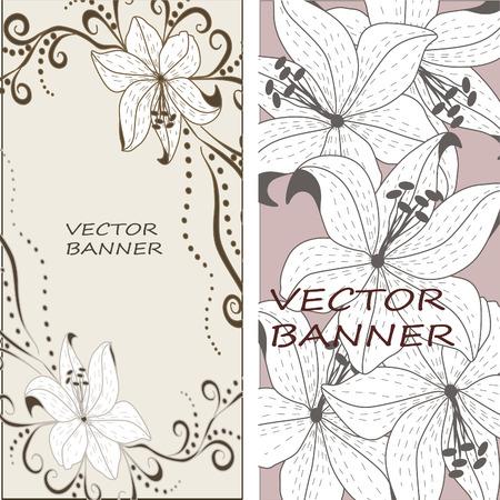 Vector floral lily background. Floral design background.