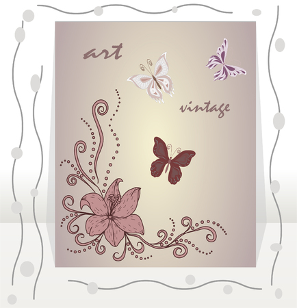 torn jeans: vintage background flower with butterflies.Vector abstract invitation card. Template frame design for card.