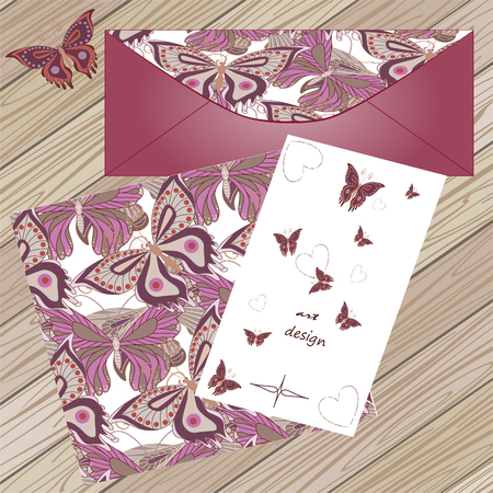 life events: Set with butterflies. Pattern, invitation envelope.Banner for life events, vector on wood background. Place for text. Pattern. Use for invitations. Heart.