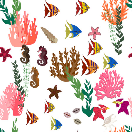 Seamless background with marine fish and plants.Vector