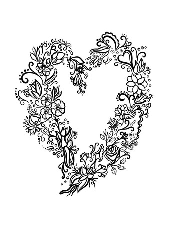 commercial painting: Vector illustration of abstract heart on black background.You can design cards, notebook cover and so on. Heart shape with place for your text. Valentines day background.