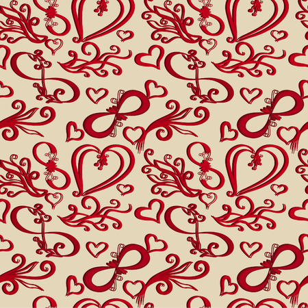 affiance: Valentines Day seamless background. Vector infinity icon with heart, eternal love idea. vector.