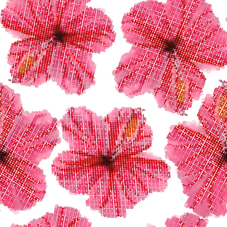 rose petals: Hibiscus flowers seamless pattern. Halftone effect. Vector illustration Illustration
