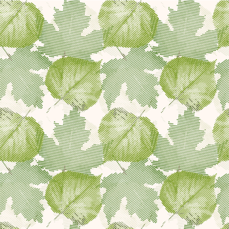 sceleton: Seamless pattern with green leaves.Halftone effect.