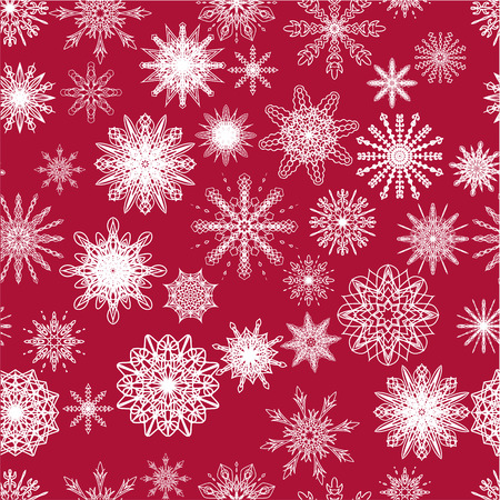 Beautiful Christmas pattern with white snowflakes on red background.Vector, EPS10.