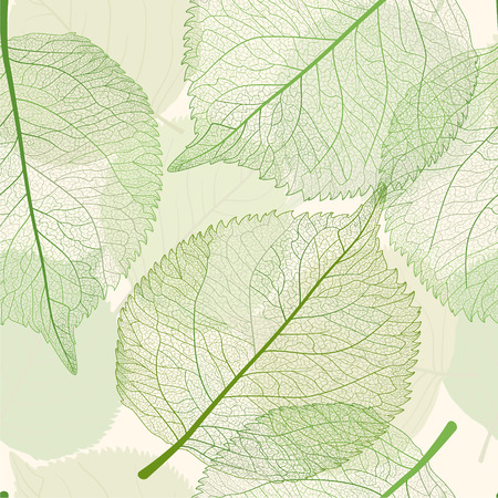 sceleton: Seamless pattern with green leaves. Vector, EPS 10.