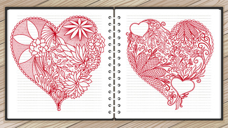 advertising column: Set of hand drawn doodle heart in vector. Ethnic design. Red and white version. Vector illustration.