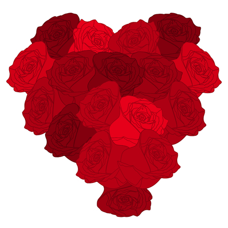 beautyful: Beautyful heart of roses on white background.Valentines Day. Vector illustration.