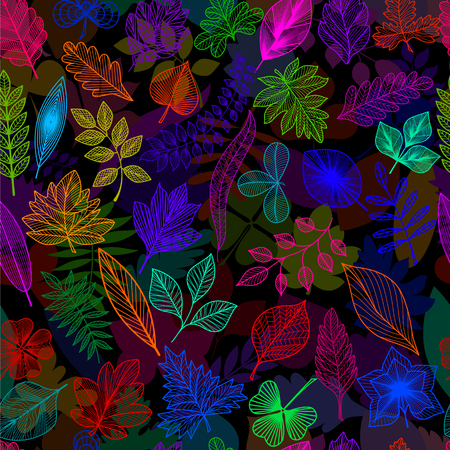 Seamless pattern with colored leaves. Vector, EPS 10. Ilustração