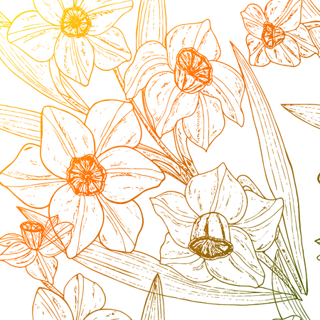 Beautiful colorful seamless pattern with Narcissus flowers. Vector illustration. EPS 10