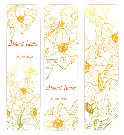 Beautiful background with narcissus flowers and space for text. Vector illustration. EPS 10 Ilustracja