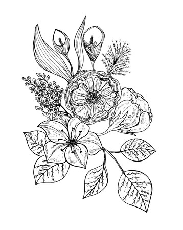 Bouquet of flowers isolated on white background. Vector illustration, EPS 10. Illustration