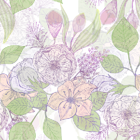 Beautiful seamless pattern with flowers. Vector illustration. EPS 10
