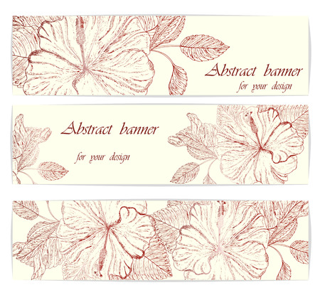 Beautiful background hibiscus flower with space for text. Vector. Illustration